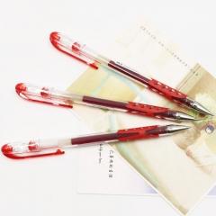 日本百乐(PILOT)BL-WG-38子弹头防滑中性笔啫喱笔签字笔 红色 0.38mm 12支装原装进口