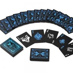 望京扑克 新款WOLF狼牌黑色塑料防水扑克花切花式创意扑克牌近景魔术牌