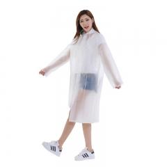 户外战儿 成人雨衣半透明磨砂时尚雨衣非一次性雨衣男女士长款带帽加厚白色