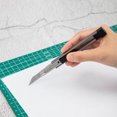 得力(deli)30°角小号自锁美工刀 9mm裁纸刀/壁纸刀 灰色2084