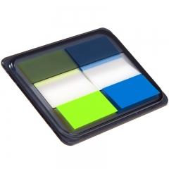 齐心(Comix)D7007EC 荧光膜指示标签/便签条/便利贴/百事贴 3个装 (44x30mm)20张*2色