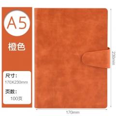 正彩(ZNCI)A5/100张商务磁性搭扣记事本 时尚活页多功能笔记本 办公文具皮面会议记录本子 4318-A5橙色