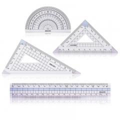 得力(deli)学生尺子4件套绘图套尺(直尺+三角尺*2+量角器) 颜色随机71964