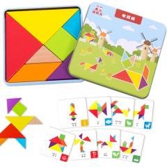 福孩儿 木质七巧板套装配教学卡片 智力拼图幼儿园小学生一年级教具用早教拼板