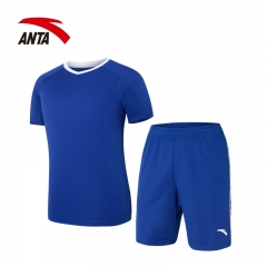 安踏 ANTA  套装 男装 吸湿透气足球训练套装 时尚休闲运动套装 95712202 深空蓝 2XL(男185)