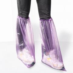 巧逸 一次性鞋套 加长款防护鞋套 加厚PE 防水雨天脚套居家鞋套样板房室内塑料套 100只装