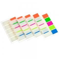 齐心(Comix)5个装 (44x12mm)20张*5色荧光膜挂式指示标签/便签条/便利贴/百事贴 办公文具D7013EC