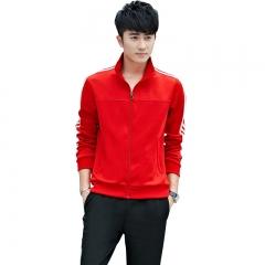 范迪慕 运动套装男秋冬卫衣套装休闲运动服男情侣外套  FDM1803-男款红色-外套两件套-2XL