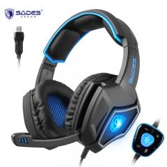 赛德斯(Sades)狼灵 头戴式7.1声道语音耳机(黑蓝)  头戴式电竞有线usb台式电脑耳麦cf