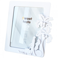 花间集 相框 7寸立体浮雕装饰ABS树脂简约风摆挂两用 椰树情侣 象牙白