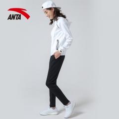 安踏 ANTA 女子套装 时尚卫衣运动休闲套装 防风舒适时尚外套长裤 96817730 雪花白 XL(女175)