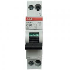 ABB进口断路器 1P+N 20A空气开关紧凑型微型空开 双进双出 SN201L-C20