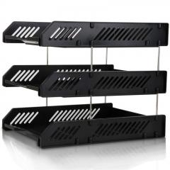 得力(deli)三层镂空收纳文件座 自由拆卸组装三层文件盘/文件框 牢固耐用 办公用品 黑色9209