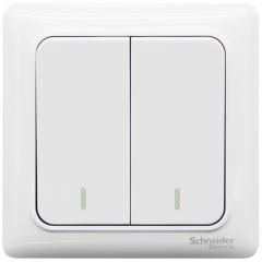 施耐德电气(Schneider Electric)开关插座 开关面板 双开双控开关 睿意系列 白色A3E32_2A