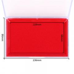 得力(deli)137*88mm透明外壳方形快干印台印泥 办公用品 红色9864