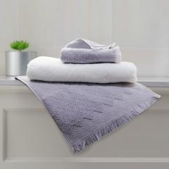 洁丽雅(Grace)纯棉毛巾浴巾三件套 风絮款舒适典雅素色毛巾礼盒装(提供手提袋)浴巾*1+毛巾*2 白色+灰色