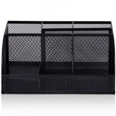 得力(deli)多功能七格组合笔筒 金属网纹桌面收纳盒 办公用品 黑色8903