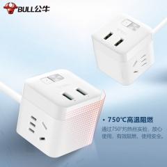 公牛(BULL)自动防过充魔方USB插头/插座/防过充插头 全长1.5米 2孔+2USB自动断电 GNV-UU312T