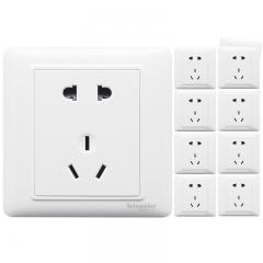 施耐德电气(Schneider Electric)开关插座 插座面板 10A五孔插座十支装套装 睿意系列 白色