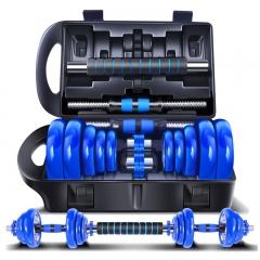凯速胶圈款电镀哑铃15KG(7.5公斤*2)蓝杆运动健身套装杠铃男女士家用组合 送连接杆 专业手套 冰感毛巾