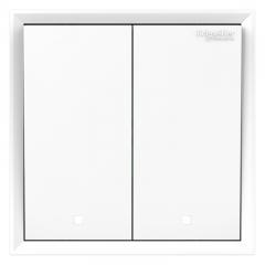 施耐德电气(Schneider Electric)开关插座面板 双开双控开关 带荧光指示 皓朗系列 清雅白色C2E32L2_WE
