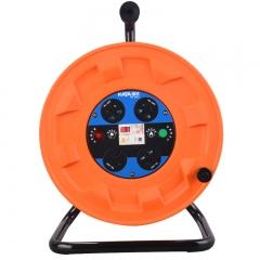 锴达 KATA 移动电缆盘空盘4位50米1/2.5平方电线卷线盘绕线盘带漏电过热保护310mm线缆盘220V10-16A KT82210