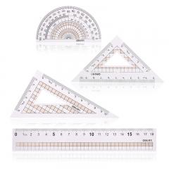 得力(deli)学生直尺三角尺量角器绘图组合套尺4件套 颜色随机71968