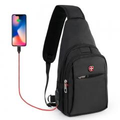 CROSSGEAR 男胸包腰包旅行休闲运动单肩包斜挎包 充电7.9英寸ipad/小米平板小背包大容量手机包CR-8002黑色