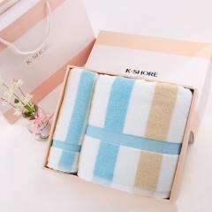 金号 纯棉家纺组合礼盒装GA1014方块无捻提缎毛巾 浴巾盒装 蓝色 赠手提袋