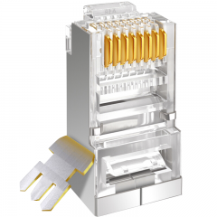 山泽(SAMZHE)工程级六类千兆网络屏蔽水晶头 10个/盒 RJ45网线8P8C网线接头 FTP铜壳SJ-P6010