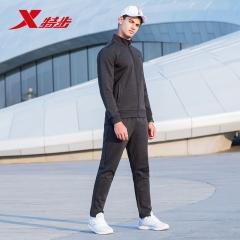 【跑步套装2件套】特步男子跑步套装新款柔软舒适运动针织套装 882329969084 深花灰 XL