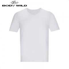 宝迪威德BODYWILD短袖T恤背心男纯色柔滑莫代尔无痕V领男士短袖薄款上衣ZBN12JA1 黑色 170