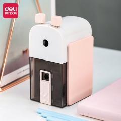 得力(deli)金属办公削笔机 学生铅笔削笔器/转笔刀/卷笔刀 粉色71150