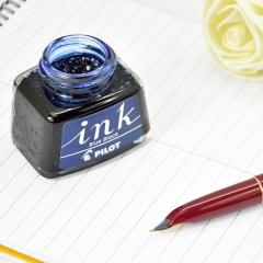 日本百乐(PILOT)非碳素墨水 不堵笔钢笔墨水30ml 蓝黑INK-30-BB原装进口