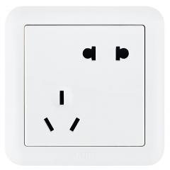 ABB开关插座面板 10A错位斜五孔插座二位二三极插座 德静系列 白色 AJ205