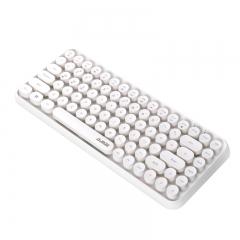 黑爵(AJAZZ)308i 键盘 无线蓝牙键盘 办公键盘 女性圆形朋克84键 安卓苹果iPad笔记本电脑键盘 象牙白