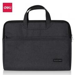 得力(deli)加厚立体办公手提会议包事务包 商务拉链袋电脑公文包 黑色5590