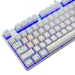 优派(ViewSonic)KU520机械键盘 有线键盘 游戏键盘 87键单光 吃鸡键盘 背光键盘 白银色 青轴