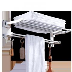 洁比世 卫生间置物架 太空铝免钉浴室置物架厕所厨房毛巾架浴巾架带挂钩 免打孔60CM