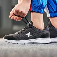特步男鞋情侣款运动鞋综训鞋款柔软舒适轻便男鞋跑步健身跑步鞋881118529083 灰黑-女 37码