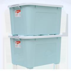 禧天龙Citylong 110L特大号滑轮收纳箱环保塑料储物箱家用整理箱2个装 樱草蓝6154