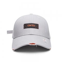 BABAMA x OMTO联名棒球帽子潮牌男女鸭舌帽街头运动弯檐情侣防晒遮阳帽嘻哈帽擦边工艺 灰色