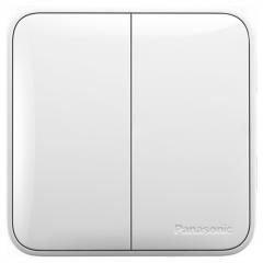 松下( Panasonic)开关插座面板 二开双控开关面板 双开双控墙壁开关 格彩系列86型 WPC504 白色