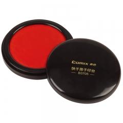 齐心(Comix) 直径85mm红色圆形速干印台中号 办公文具B3705