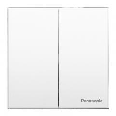 松下( Panasonic) 开关插座面板 二开单控开关面板 双开单控墙壁开关 悦宸系列86型 WMWM503 白色