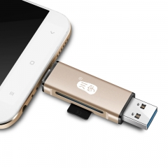 川宇手机读卡器安卓Type-C 电脑接口通用OTG读卡器读取SD/TF手机相机内存卡高速多功能合一读卡器C256