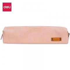 得力(deli)纯色仿鹿皮笔袋学生铅笔收纳袋 皮粉色66710