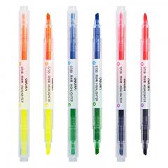 得力(deli)双头双色荧光笔考试重点标记笔 手帐可用水性记号笔 6色共3支DL-S736