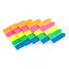 齐心(Comix)D7015EC 荧光膜挂式指示标签/便签条/便利贴/百事贴 5个装 (44x12mm)20张*5色