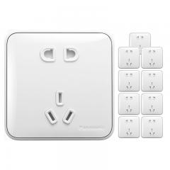 松下( Panasonic)开关插座面板 正五孔插座面板 大间距10A5孔墙壁插座(10支套装)格彩86型 白色